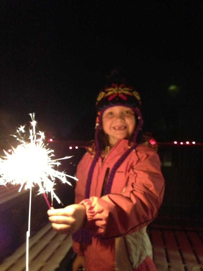 Sparklers at midnight.