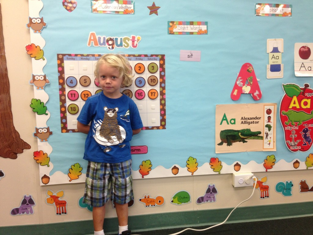 Sawyer on his first day in his  pre-k class. He doesn't look too excited in this picture, but he was happy to be there and a had a good day. He even asked if he could do his homework when we got home. No homework this week!