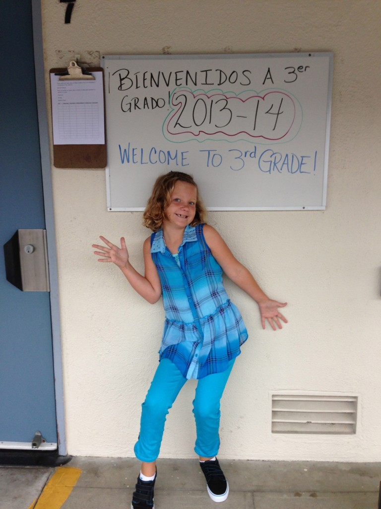 Avery on her first day back to school. She was excited to see her friends and start school again. She told me she's excited to learn cursive, multiplication tables and about the solar system. Love that she's excited to learn.