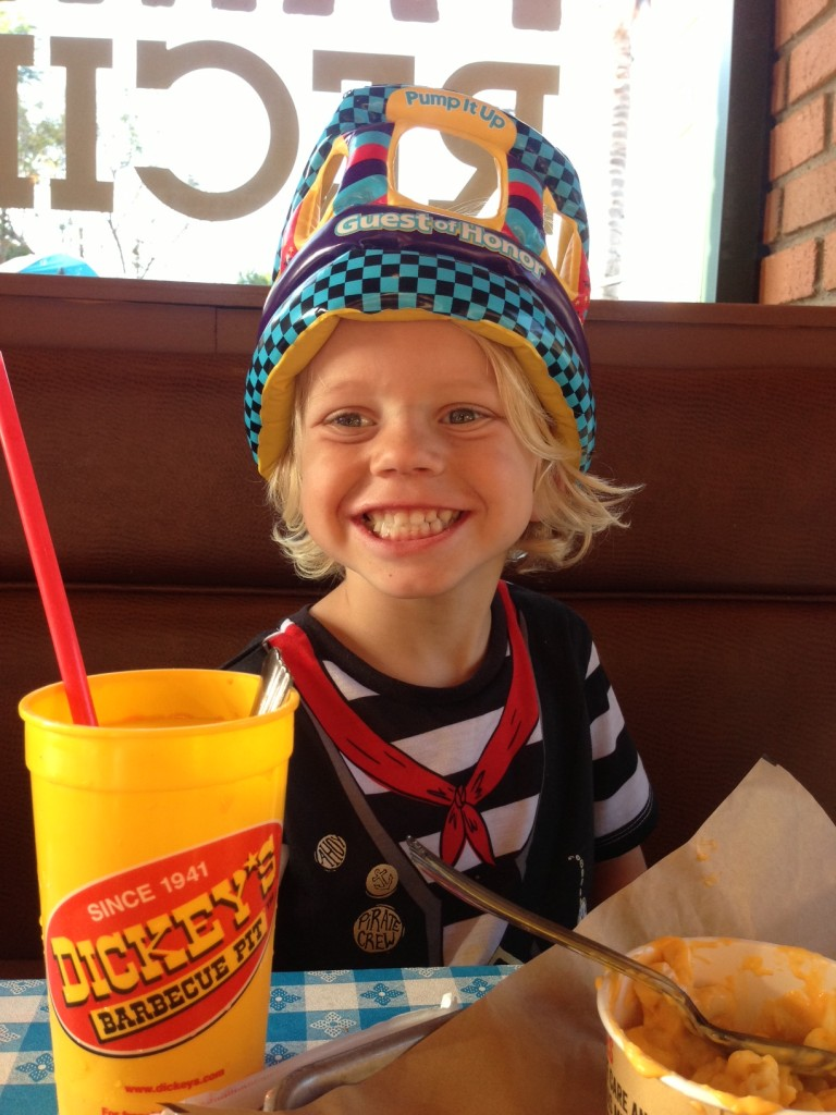 Sawyer chose Dickey's for his birthday dinner. Not high-class but it's a restaurant that we all like.